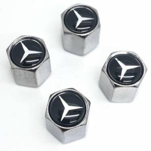 Mercedes Set of 4 Chrome Anti-Theft Car Tyre Air Dust Valve Stem Cap For Mercedes