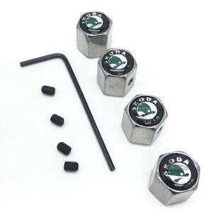 Skoda Set of 4 Chrome Anti-Theft Car Tyre Air Dust Valve Stem Cap With Allen Key