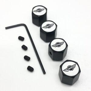 Mini Cooper Set of 4 Black Anti-Theft Car Tyre Air Dust Valve Stem Cap With Alle