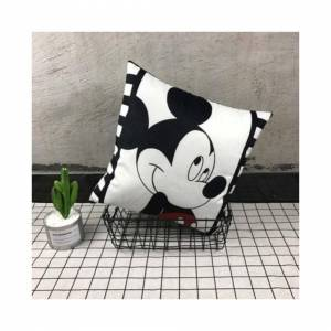 Slowmoose (Mickey 2) Mickey Minnie Mouse Cushion Cover, Cute Decorative Pillowcases On Bed