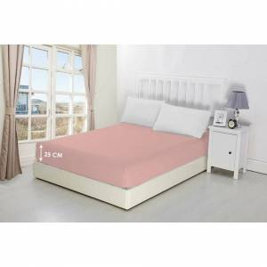 Unbranded (Baby Pink, Single) 25cm Fitted Poly Cotton Bed Sheets