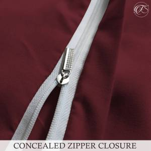 Trimming Shop (Plain Burgundy, King) Trimming Shop Duvet Cover Set with Zipper Closure with Pi