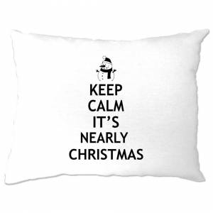 Tim And Ted (One Size, White) Christmas Pillow Case Keep Calm It's Nearly Xmas Parody Family