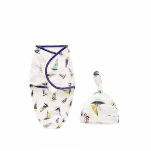 Slowmoose (Sailing boat L) Baby Swaddle Blanket + Cap, Cocoon Wrap Cotton Swaddling Bag