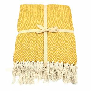 Allure Home Fashions (Mustard) Allure Audley Chevron Tasseled Throw Blanket 125 x 150cm