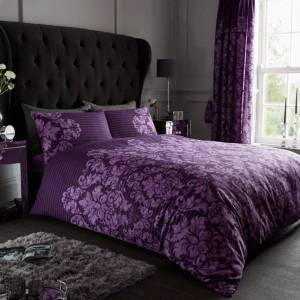 Gaveno Cavailia (King, Purple) Empire Damask Luxury Duvet Cover Set