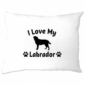 Tim And Ted (One Size, White) Dog Owner Pillow Case I Love My Labrador Slogan Pet Lover Cute