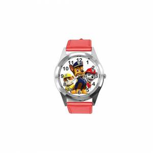 Taport Quartz Watch RED Leather Band Round for PAW Patrol Fans