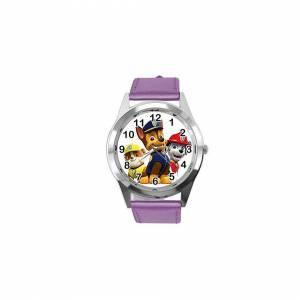 Taport Quartz Watch Violet Leather Band Round for PAW Patrol Fans