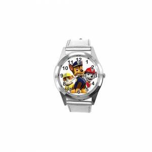 Taport Quartz Watch Silver Leather Band Round for PAW Patrol Fans
