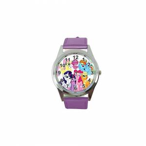 Taport Watch Analogue Quartz with Real Leather Band Violet Round for Fan of My Little P