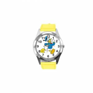 Taport Watch Analogue Quartz with Real Leather Band Yellow Round for Fan of Donald Duck