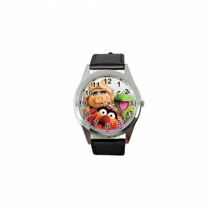 Taport Quartz Watch Black Leather Band Round for Muppets Fans