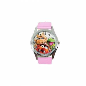 Taport Quartz Watch Pink Leather Band Round for Muppets Fans
