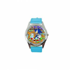 Taport Quartz Watch Blue Leather Band for Sonic The Hedgehog Fans