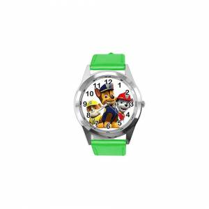 Taport Quartz Watch Green Leather Band Round for PAW Patrol Fans
