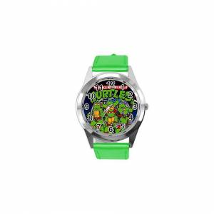 Taport Quartz Watch Green Leather Band Round for Teenage Mutant Ninja Turtles Fans