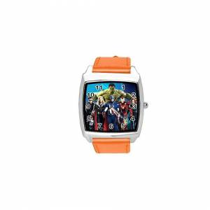 Taport Quartz Watch Orange Leather Band Square for Fan of Marvel Universe