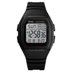 Skmei (Black) Skmei Mens Digital Clear Display Watch 5 Alarms Stopwatch Countdown