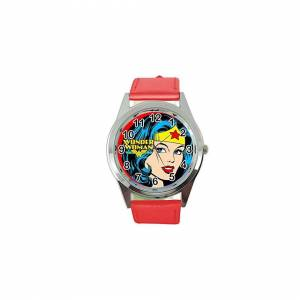 Taport Wonder Woman Quartz Round SCI FI Watch RED Real Leather Band