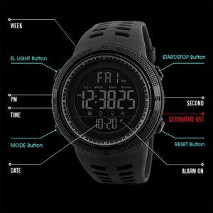 SKMEI Mens Large Display Digital Sports Watch Resin Strap Stopwatch Alarm DG1251