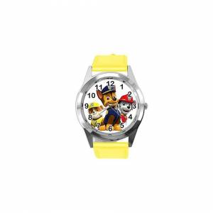 Taport Quartz Watch Yellow Leather Band Round for PAW Patrol Fans