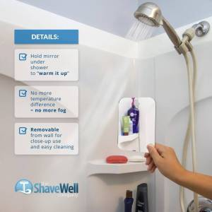 brand: the shave well company The Shave Well Company Deluxe Anti-Fog Shower Mirror   Fogless Bathroom Shaving