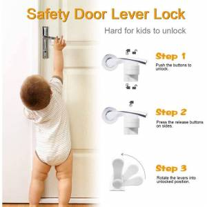Unbranded 4 Pack Door Lever Child Safety Locks, Upgraded Childproof Single Lever Lock, 180
