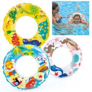 "Intex 24"" Inflatable Swim Ring Childrens Pool Fun - Assorted Design - Pool Toy"