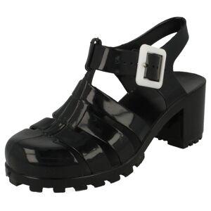 Spot On (UK 5 Child, Black) Girls Spot On Heeled Jelly Shoes