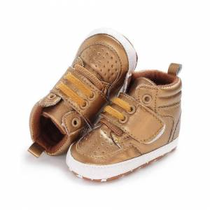 Slowmoose (Gold/13-18 Months) Autumn Newborn Baby Shoes, Soft Bottom Anti Skid, Leather Bo