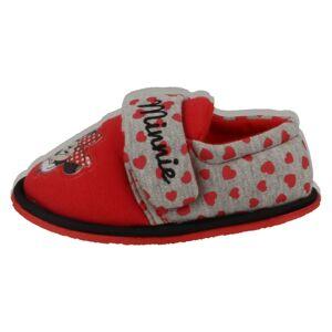 Disney (UK 10 Child, Red/Grey (Red)) Girls Disney Hook & Loop Slippers Minnie Mouse Boa
