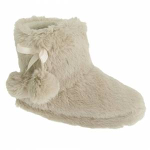 Universal Textiles (9/10 Child UK, Cream) Childrens Girls Plush Boot Slippers With Pom-Pom Detail