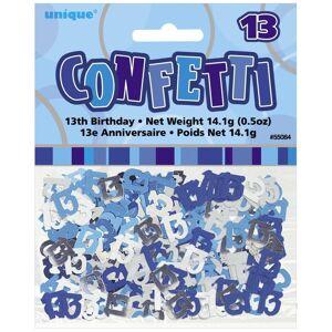 Unique Age 13 Birthday Confetti Blue Glitz
