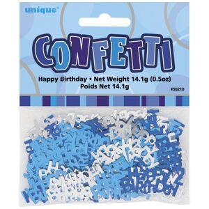 Unique Happy Birthday Confetti Blue Glitz