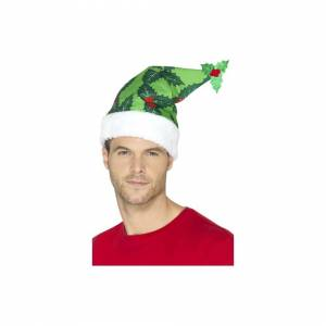 Unbranded Holly Berry Santa Hat, Green -  green christmas santa hat holly berries novelty