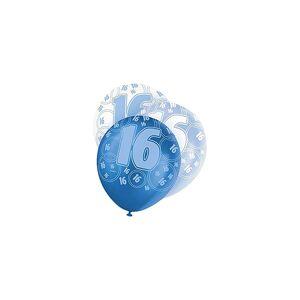 Unique Age 16 Birthday Balloons Blue Glitz