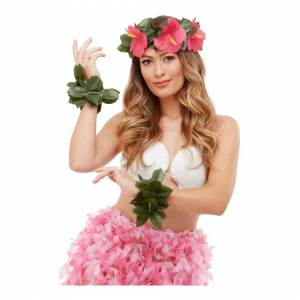 Smiffys Hawaiian Luau Tiki Set Green unf pink floral headband and 2 feet or wrist bands