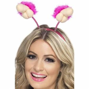 Smiffys Hen Night Plush Willy Boppers, Pink, with Marabou Trim