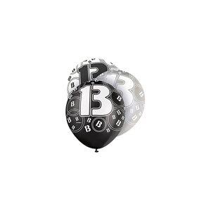 Unique Age 13 Birthday Balloons Black Glitz