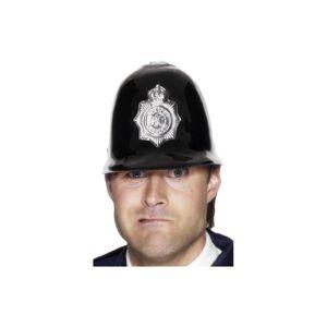 Unbranded Smiffy's Police Helmet Plastic - Black/silver -  police fancy dress hat accessor