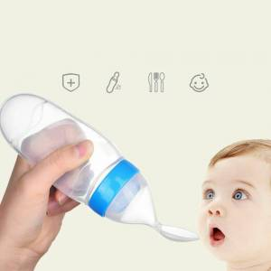 ERANPO Baby Feeding Silicone Squeeze Bottle with Spoon Food Rice Cereal Feeder