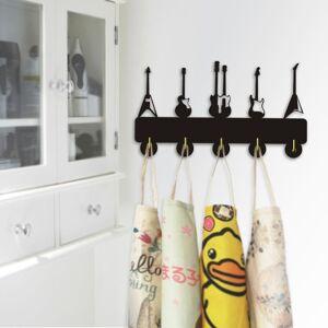 fancylife Towel Wood Hooks Guitar Instrument Shape Wall Mounted Decorative Hooks Hanger Fo