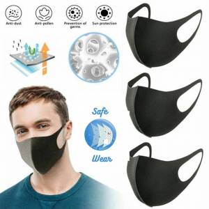 Unbranded Reusable Face Covering Black Mask,Washable, Fashion Cover (Pack of 3)