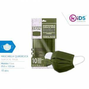 KIDS LICENSING (Light Green) 3PLY Disposable Face Masks for Adults, 10pcs Breathable Material P