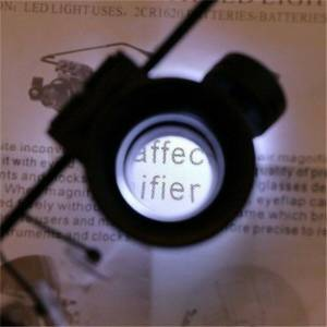 ERANPO 20X Eye Binocular Glasses Type Magnifier Watch Repair Tool With Two LED Lights