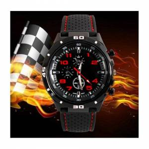 GT Men or Childrens Kids Boys Analogue Sport Spare Adult F1 GT Watch in Black and R