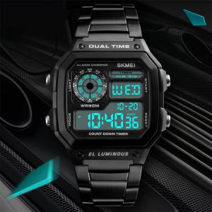 Skmei (Black) SKMEI Smart Mens Digital Watch Clear Display Stainless Steel Strap Date