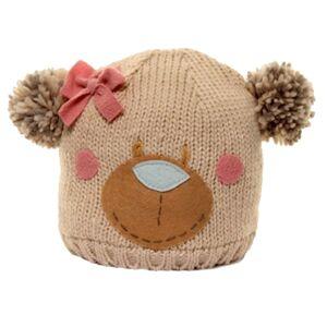 Universal Textiles (One Size, Beige) Childrens Girls Bear Design Knitted Winter Ski Hat