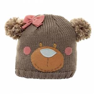 Universal Textiles (One Size, Grey) Childrens Girls Bear Design Knitted Winter Ski Hat